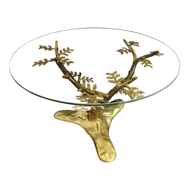 Willie Daro Inspired Mid Century Modern Brass Tree Leaves Glass Top Table Set of 2 For Sale