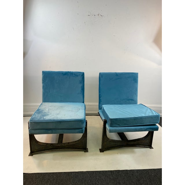 Blue Paul Evans Style Studio Chairs- A Pair For Sale - Image 8 of 8