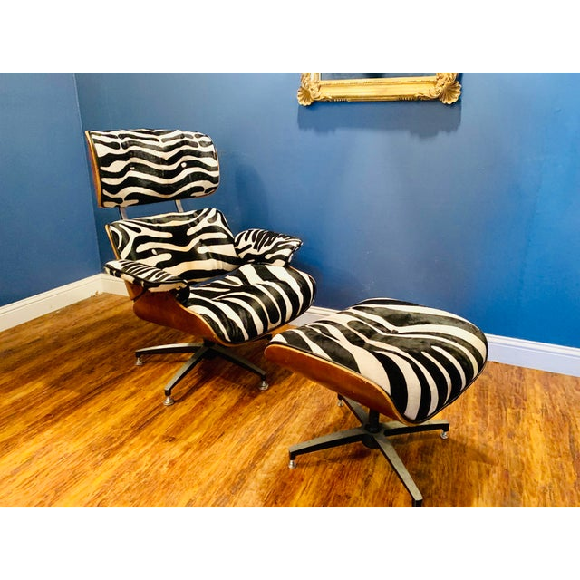 Contemporary Modern Custom Zebra Hide Eames Style Lounge Chair and Ottoman For Sale - Image 3 of 12