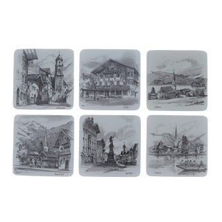 West German Melamine & Cork Coasters - Set of 6 For Sale