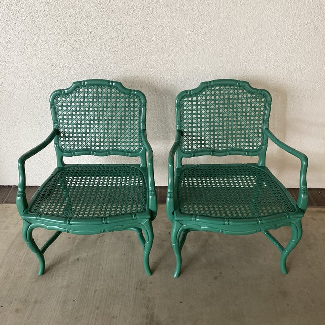 Wood Vintage Green Lacquered Chairs - a Pair For Sale - Image 7 of 11