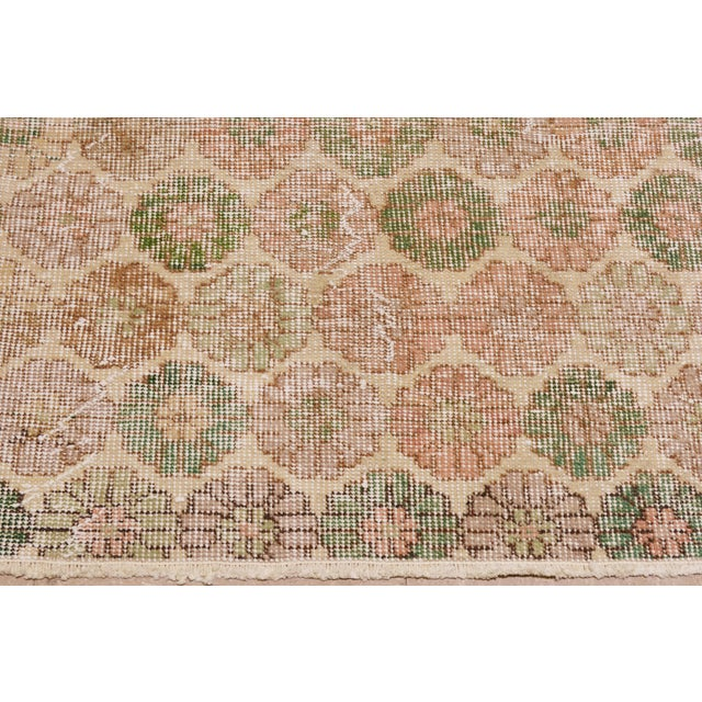 "Vintage Turkish Hand Knotted Whitewash Organic Wool Fine Weave Rug,6'x9'3"" For Sale - Image 4 of 6"