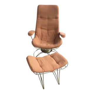 1950s Vintage Homecrest Lounge Chair and Ottoman For Sale
