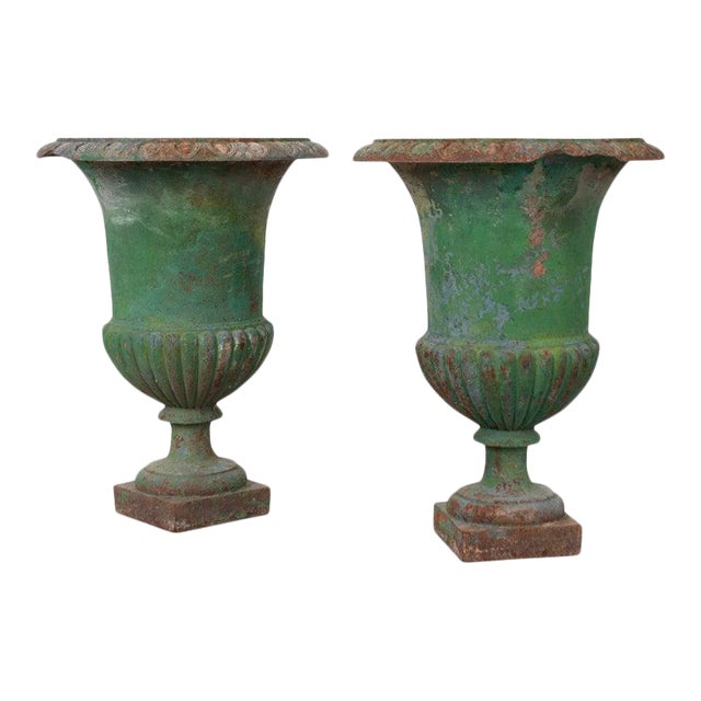 French 19th Century Painted Cast Iron Urns - a Pair For Sale