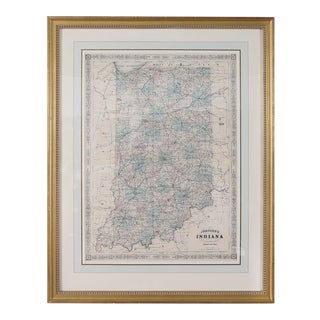 Giltwood Framed Matted Library / Study Room Map / Indiana For Sale