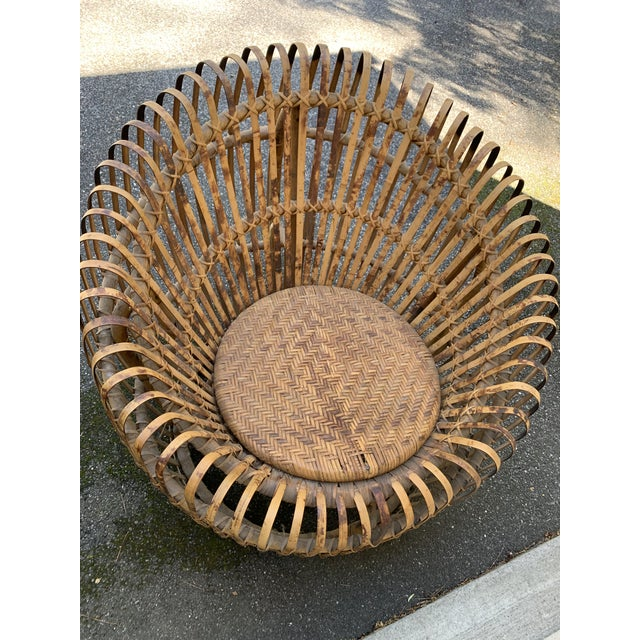 Franco Abini Style Rattan Bamboo Chair For Sale - Image 12 of 13