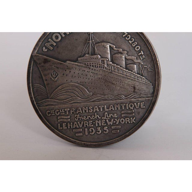 Gold Art Deco French Normandie Medallion by Jean Vernon Silvered Bronze For Sale - Image 8 of 11
