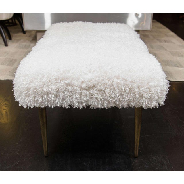 Mid 20th Century French Faux Fur Bench For Sale - Image 5 of 6