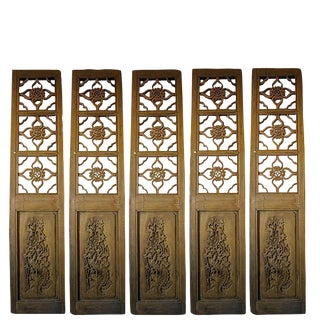 20th Century Antique Chinese Four Lucky Keys Wood Screen Divider For Sale