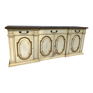 20th Century Karges Credenza Sideboard Antique Ivory Gold Detailing.1 For Sale