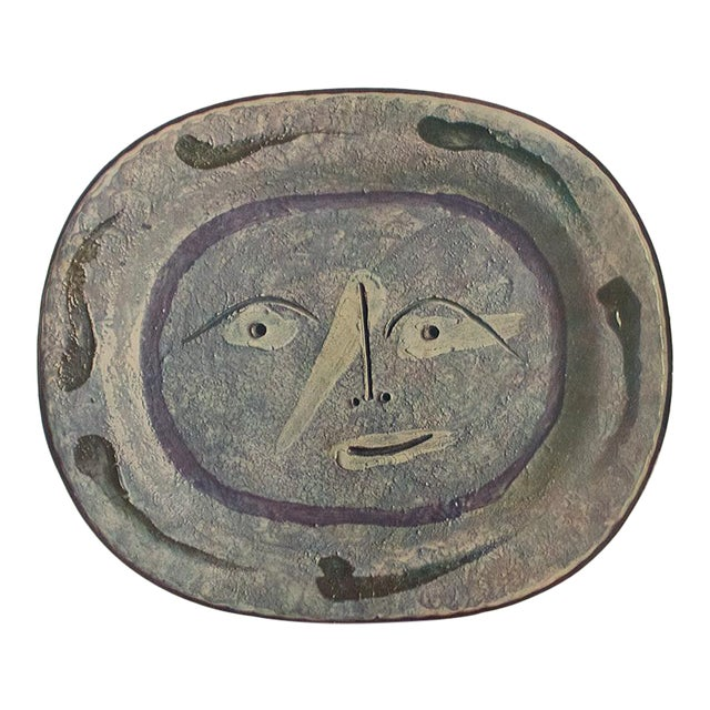 1955 Pablo Picasso Smiling Face Ceramic Plate, Original Period Swiss Lithograph For Sale