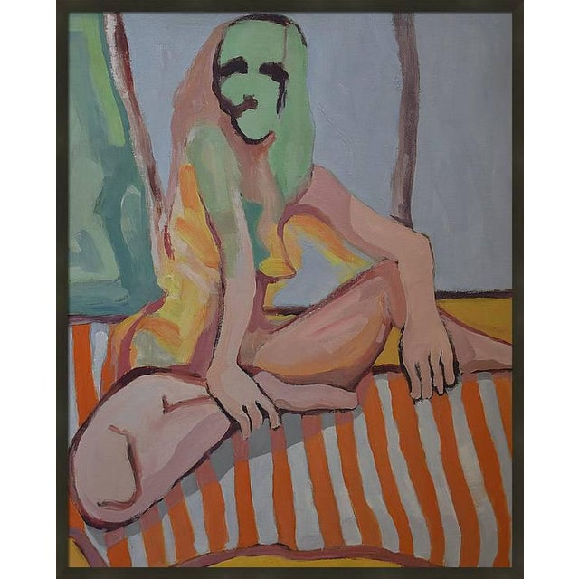 'Nude Lady on Orange Throw' Large Oil on Canvas by American Expressionist, George Brinner For Sale - Image 4 of 4