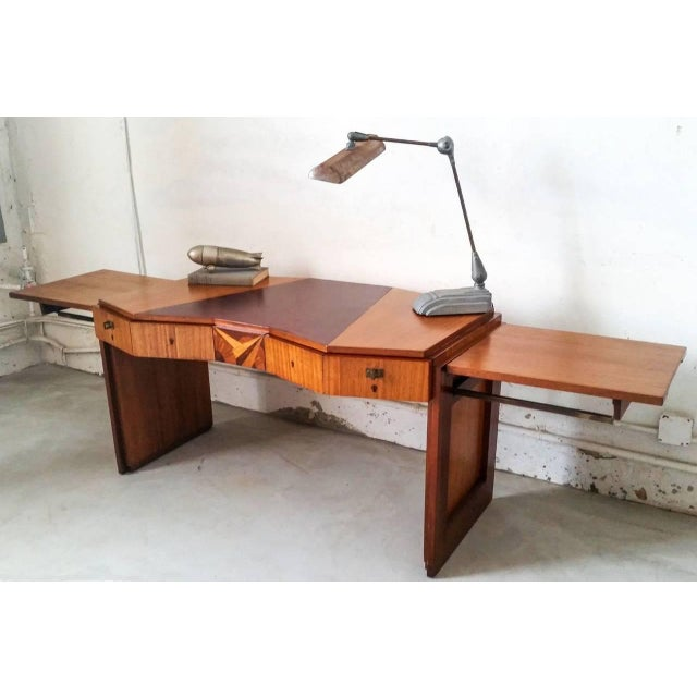 Art Deco 1920s Saddier French Art Deco Gull Wing Desk For Sale - Image 3 of 11