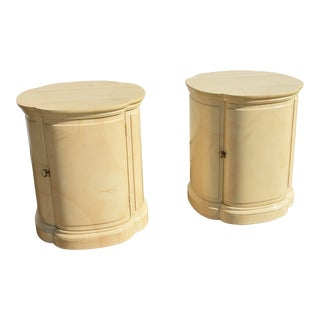 Henredon Folio 16 Faux Goatskin Asian Style Drum Nightstands-a Pair For Sale
