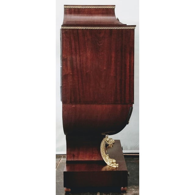 Empire / Biedermeier Style Lyre Form Secretary Desk in Mahogany With Gilt Dolphins For Sale In San Diego - Image 6 of 13