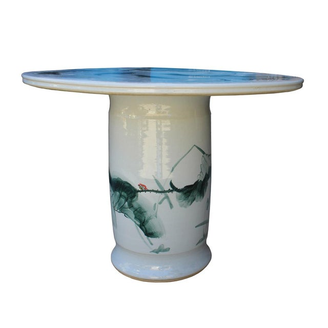 Chinese White Porcelain Green Lotus Fish Motif Round Table For Sale - Image 4 of 7