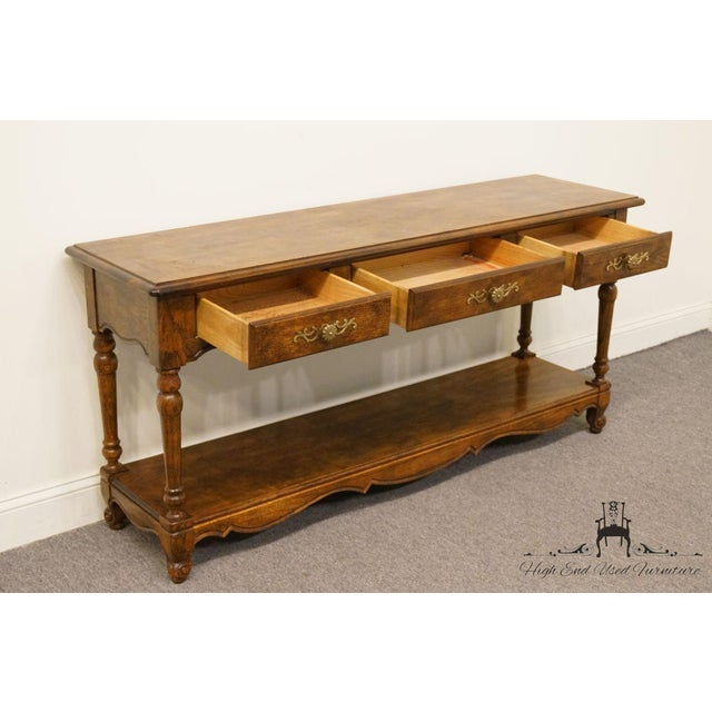 Oak Late 20th Century Vintage Hickory Manufacturing French Oak Console Table For Sale - Image 7 of 13