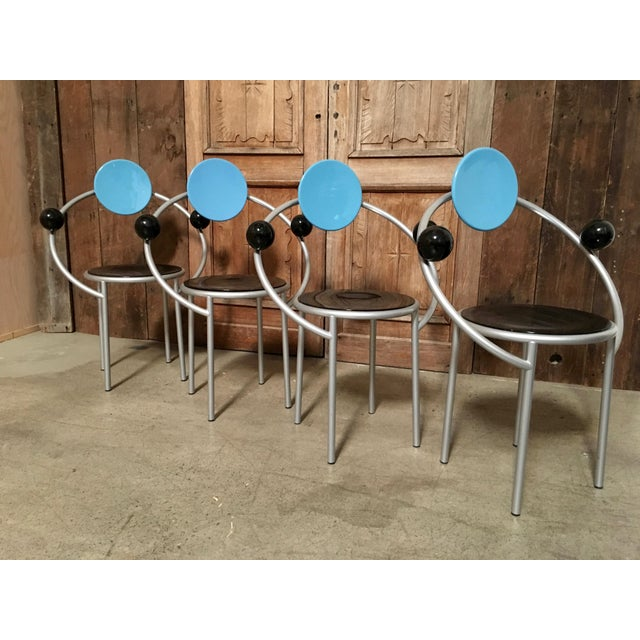 """Set of four """"First Chair"""" Michele de Lucchi for Memphis. These chairs are being sold individually."""