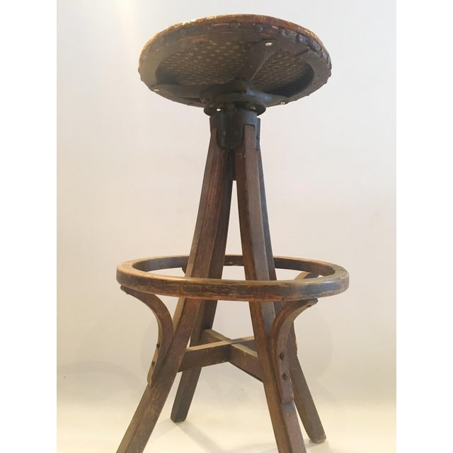 Vintage Industrial Leather Swivel Stool - Image 4 of 6