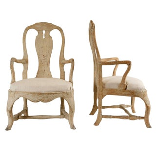 Pair of 19th Century Carved Wood Rococo Armchairs For Sale