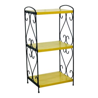Vintage 1960s Black & Yellow Metal Shelf For Sale