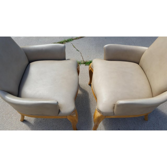 1980s Vintage High Back Leather Armchairs - a Pair For Sale - Image 5 of 8