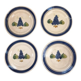 1970s Vintage Italian Hand Decorated Blue and White Glazed Terra Cotta Plates - Set of 4 For Sale