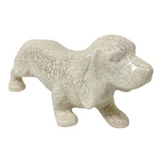 Artisan Crackle Glaze Ceramic Doggy