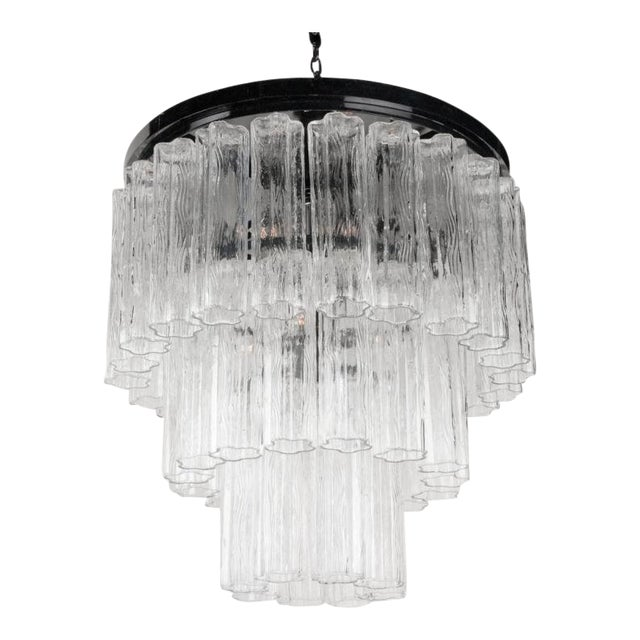 Round Three Tier Penta Foil Chandelier by Camer For Sale