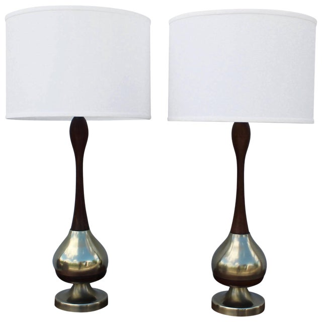 Tony Paul Brass and Walnut Table Lamps For Sale