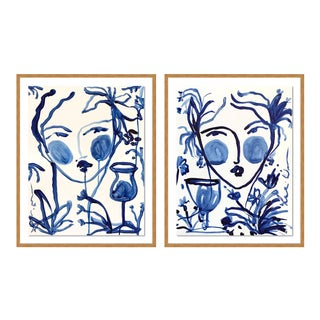 Flowers and Wine Diptych by Leslie Weaver in Gold Framed Paper, Medium Art Print - a Pair For Sale