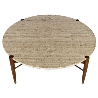 Travertine Coffee Table by Folke Ohlsson for Dux Sweden For Sale