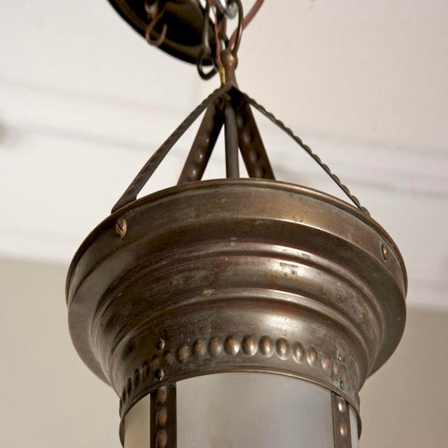 Antique English Hanging Bronze and Frosted Glass Hall Lantern For Sale - Image 4 of 5