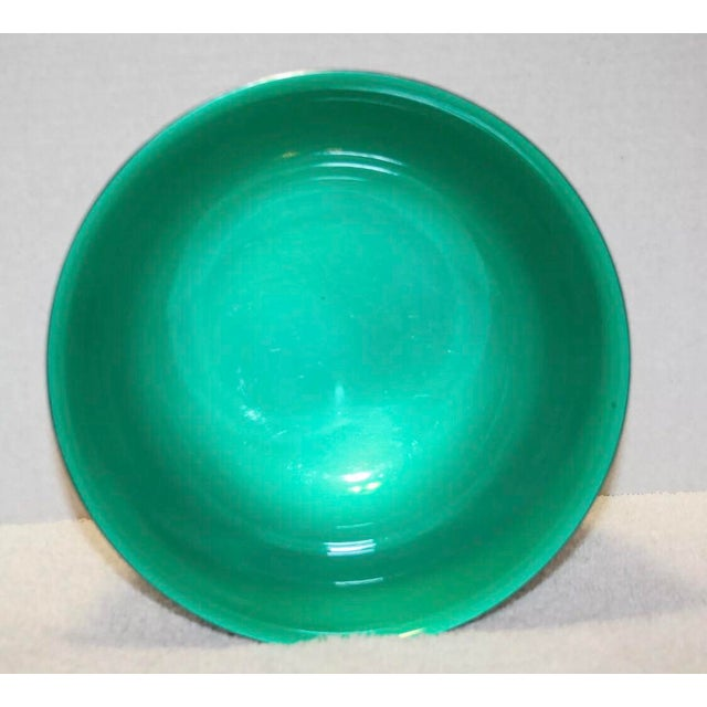 Contemporary Reed & Barton Silver Plated & Bright Green Enamel Bowl For Sale - Image 3 of 10