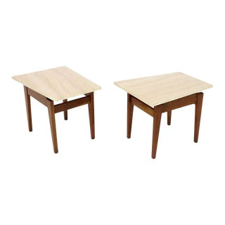 Risom Walnut End Tables W/ Wedge Shape Travertine Marble Tops - A Pair For Sale