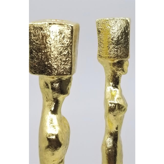 Gold Mid Century Modern Candlesticks - Candle Holders - Giacometti Style - Restored For Sale - Image 8 of 13