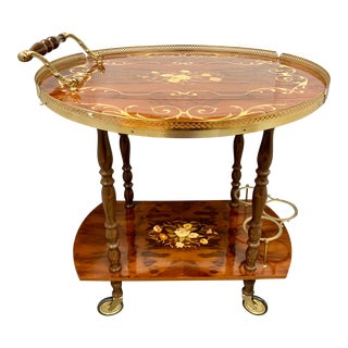 Italian Marquetry and Brass Drop Leaf Tea Cart Trolley For Sale