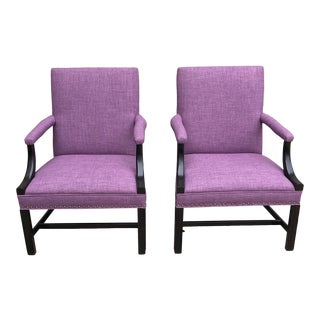 Late 20th Century Vintage Upholstered Accent Chairs- A Pair For Sale