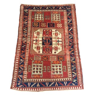 Late 19th Century Antique Caucasian Rug - 4′8″ × 6′9″ For Sale