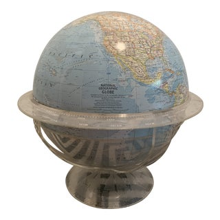 Vintage 1960s National Geographic World Globe in Lucite/Acrylic Stand For Sale
