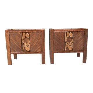 Brutalist Sculptural Nightstands by United Furniture For Sale