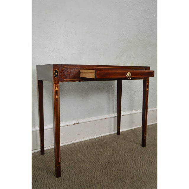 STORE ITEM #: 16003 Henkel Harris Mahogany Federal Style Marble Top Inlaid Console Mixing Table AGE/COUNTRY OF ORIGIN –...