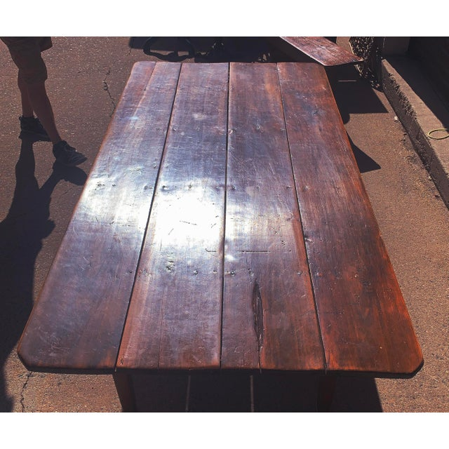 Farmhouse Rustic Barnwood Plank Top Dining Table For Sale - Image 3 of 13