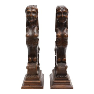 Figurial Walnut Carved Bookends - a Pair For Sale