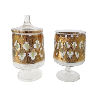 """Culver """"Valencia"""" Gilt Footed Containers - Pair"""