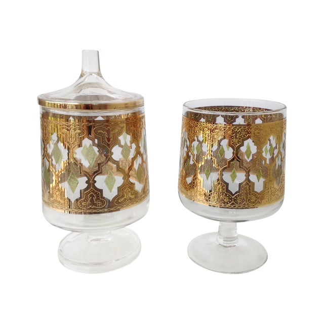 "Culver ""Valencia"" Gilt Footed Containers - Pair - Image 1 of 9"