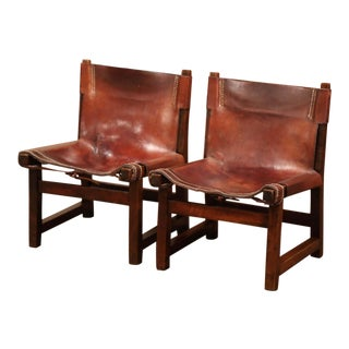 19th Century Spanish Walnut and Leather Low Fireplace Chairs-a Pair For Sale