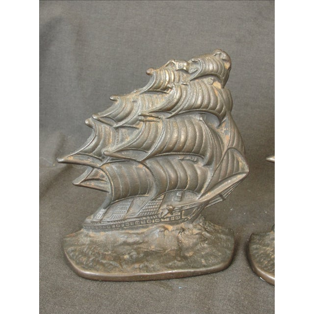 Vintage Cast Iron Ship Bookends - A Pair - Image 3 of 6