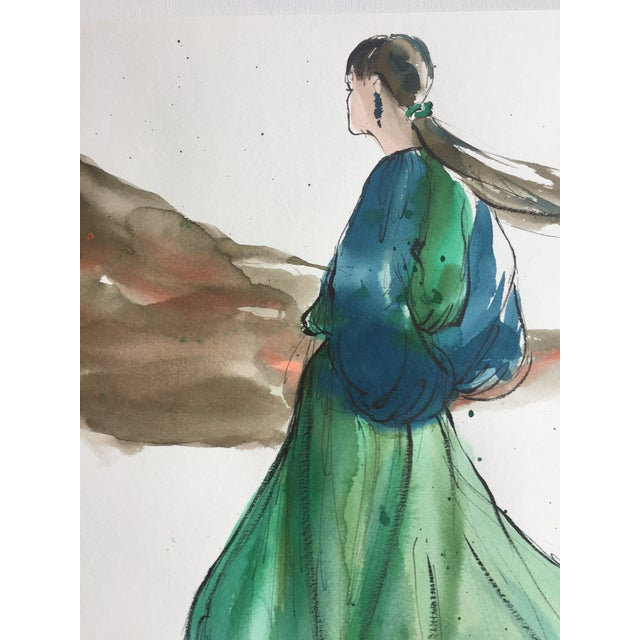 Vintage Original Fashion Watercolor Painting - Image 4 of 5