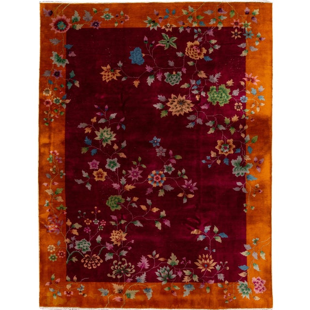 Early 20th Century Antique Art Deco Chinese Wool Rug 9 X 11 For Sale